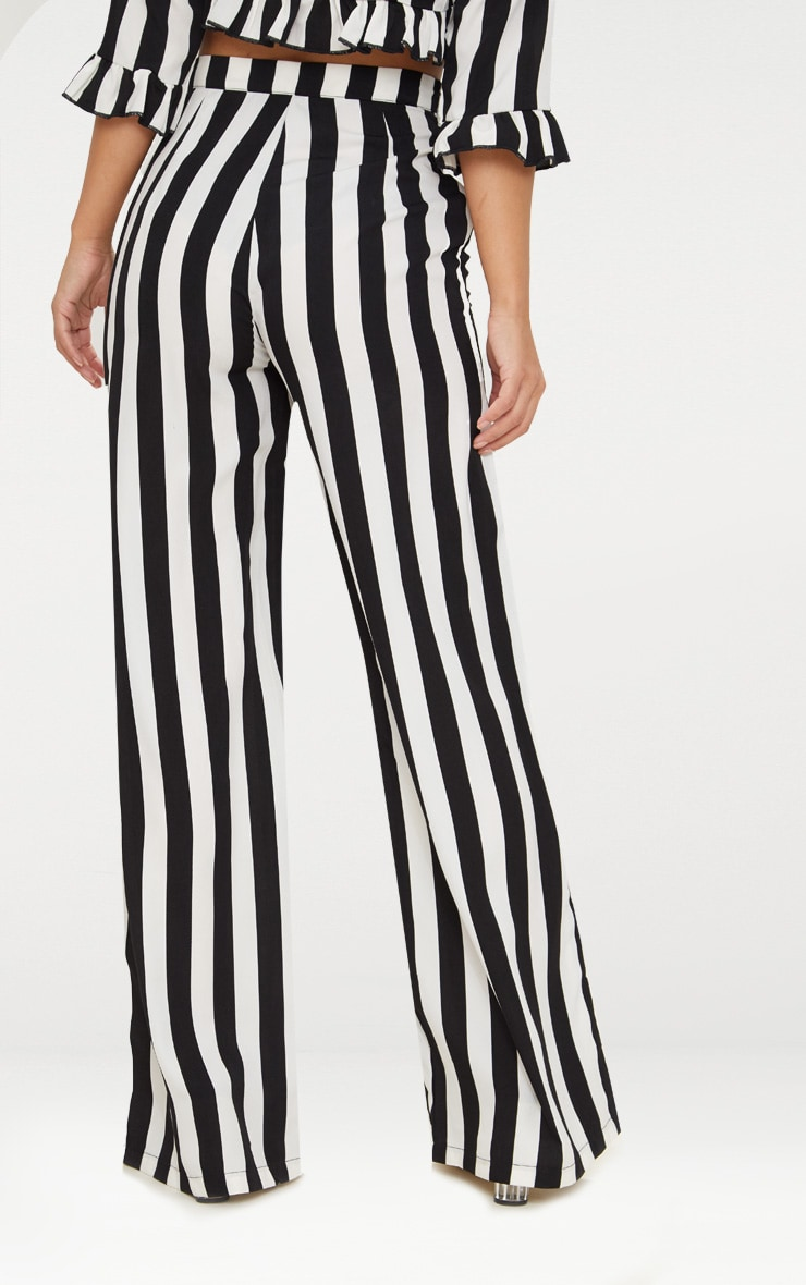 Petite Black Monochrome Stripe Wide Leg Pants 4