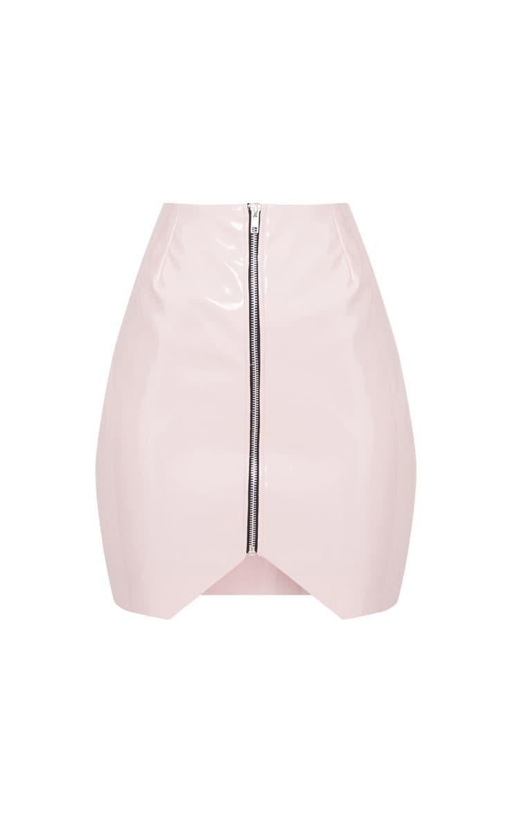 Pale Pink Zip Front Vinyl Mini Skirt 3