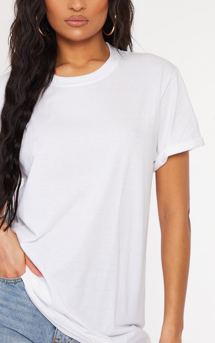 White Oversized Roll Sleeve Ultimate T Shirt 4