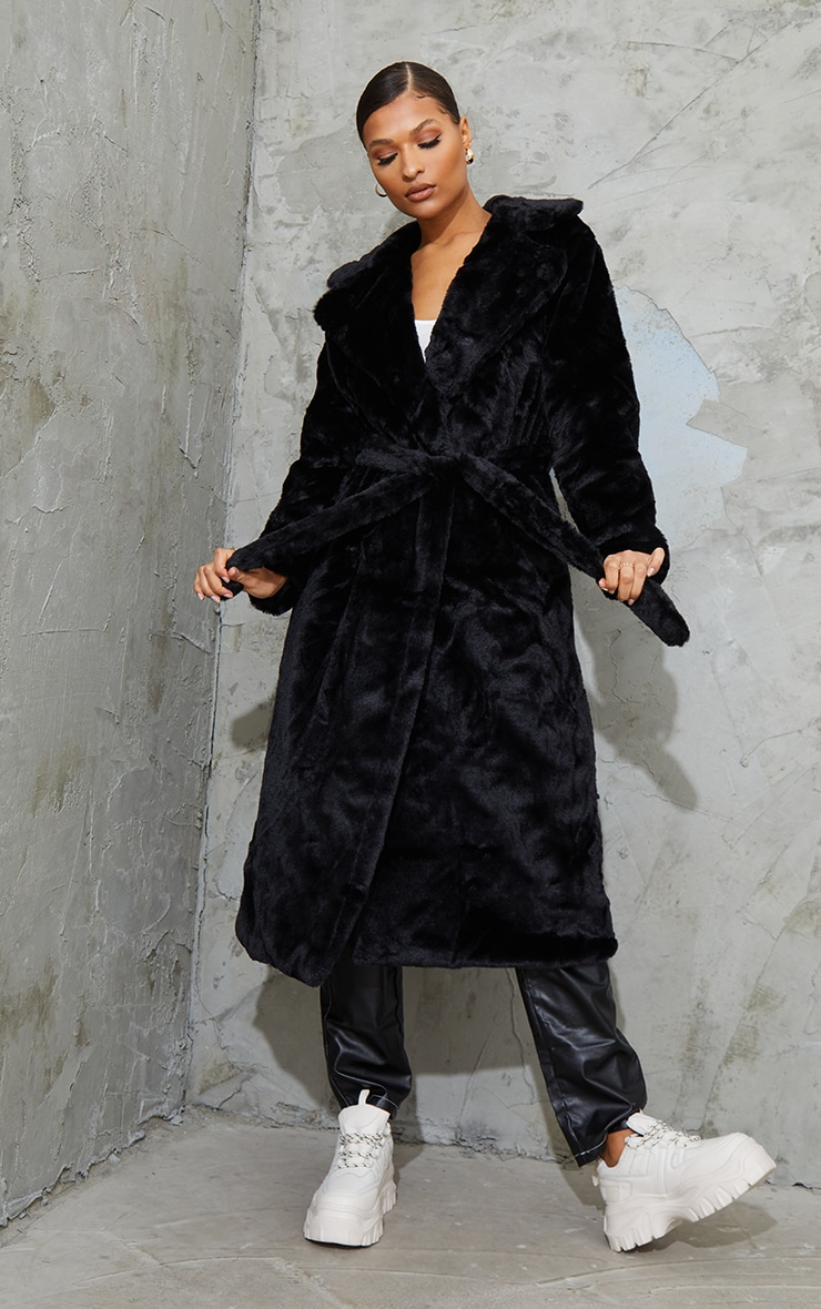 Black Belted Faux Fur Coat 1