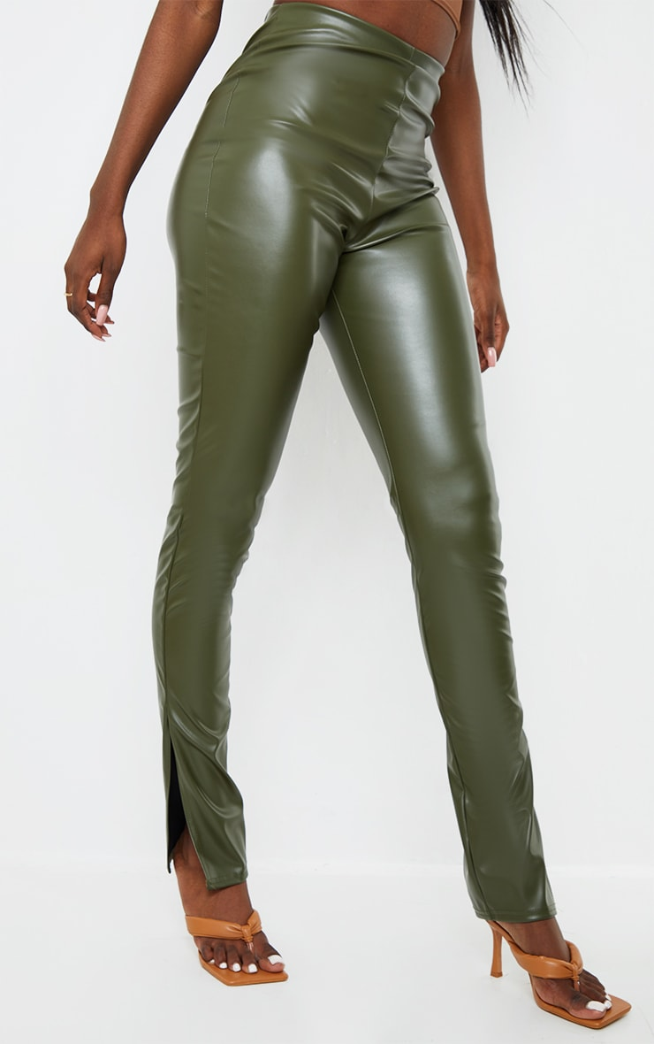 Tall Khaki Split Hem Flared PU Pants 2