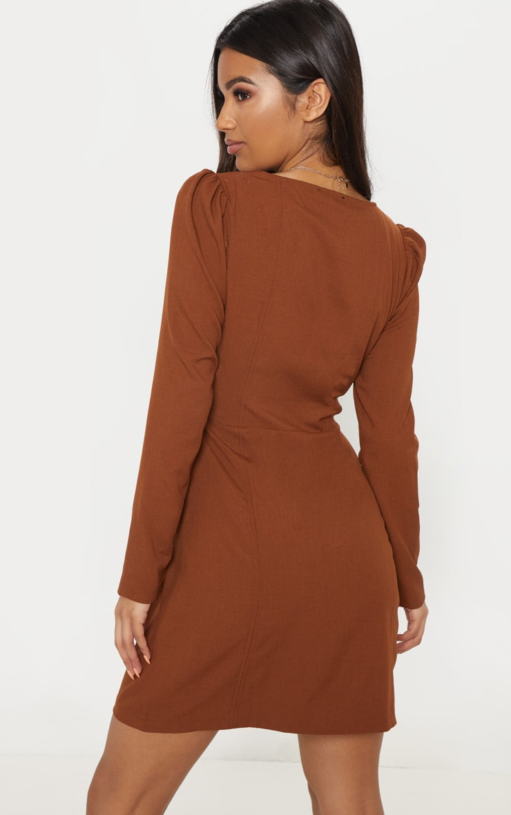 Chocolate Wrap Tortoise Shell Buckle Shift Dress 2