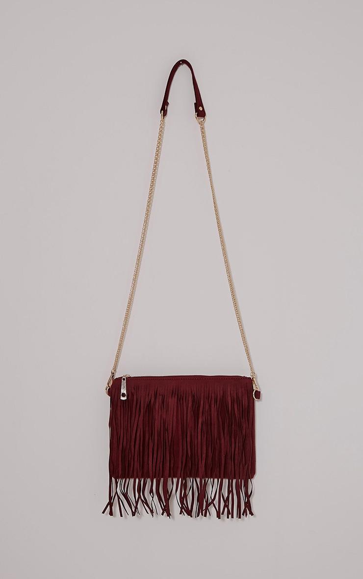 Dany Burgundy Fringe Bag 1