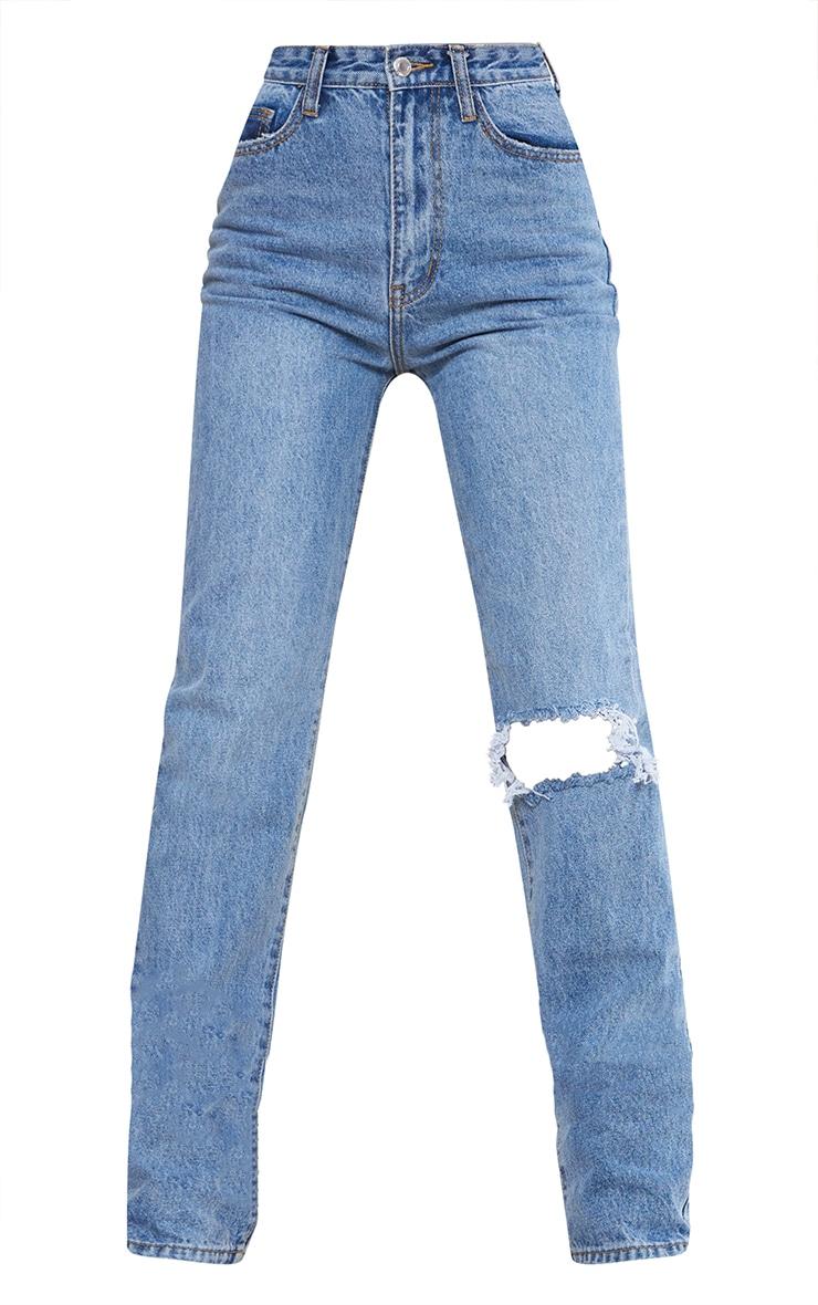 Tall - Jean droit au délavage bleu clair découpé sur le genou 5