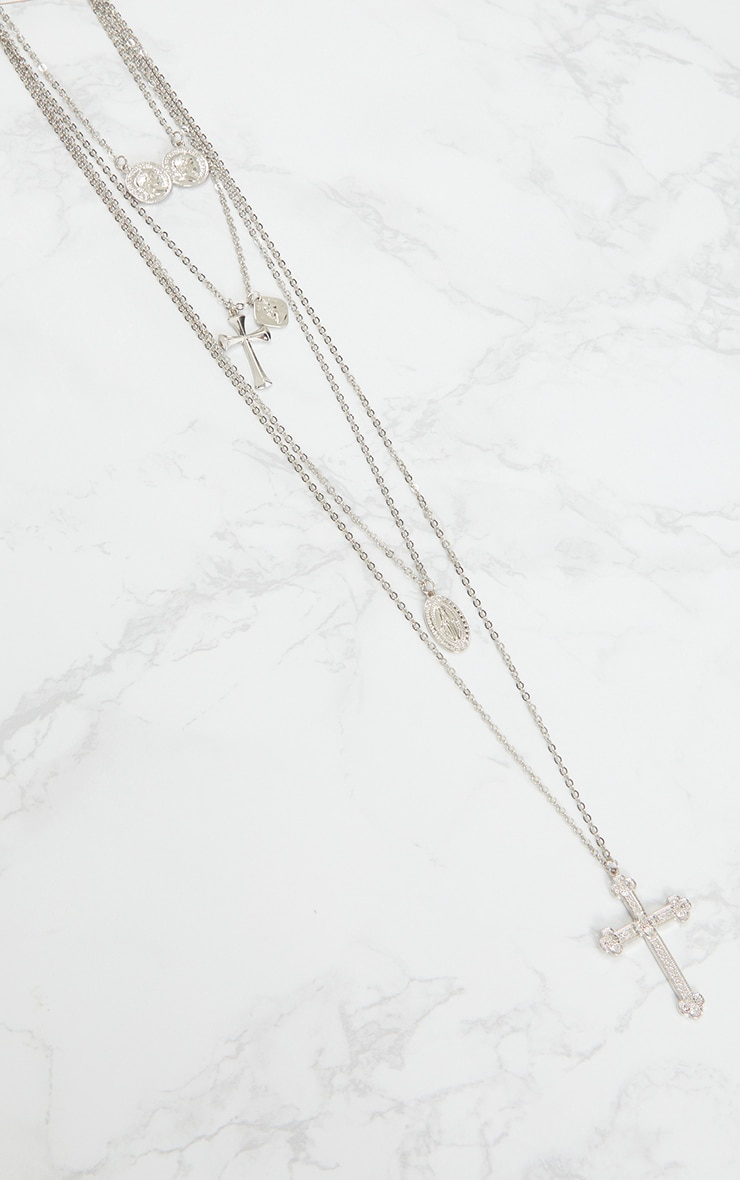 Silver Assorted Cross Tiered Necklace 3