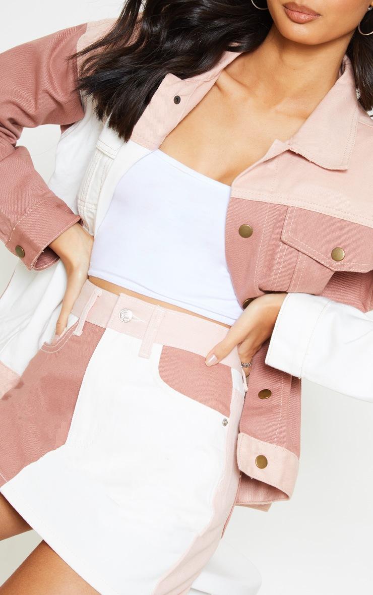 Multi Colour Block Denim Skirt 5