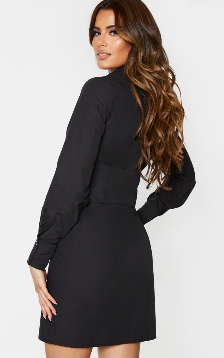 Tall Black Wrap Detail Shirt Dress 2