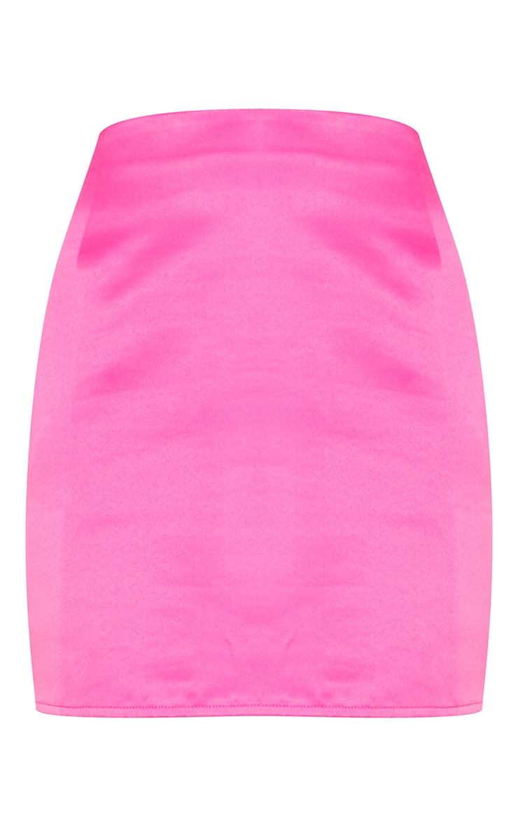 Fuchsia Bonded Satin Mini Skirt 6