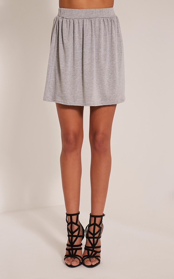 Basic Grey Floaty Jersey Mini Skirt 2