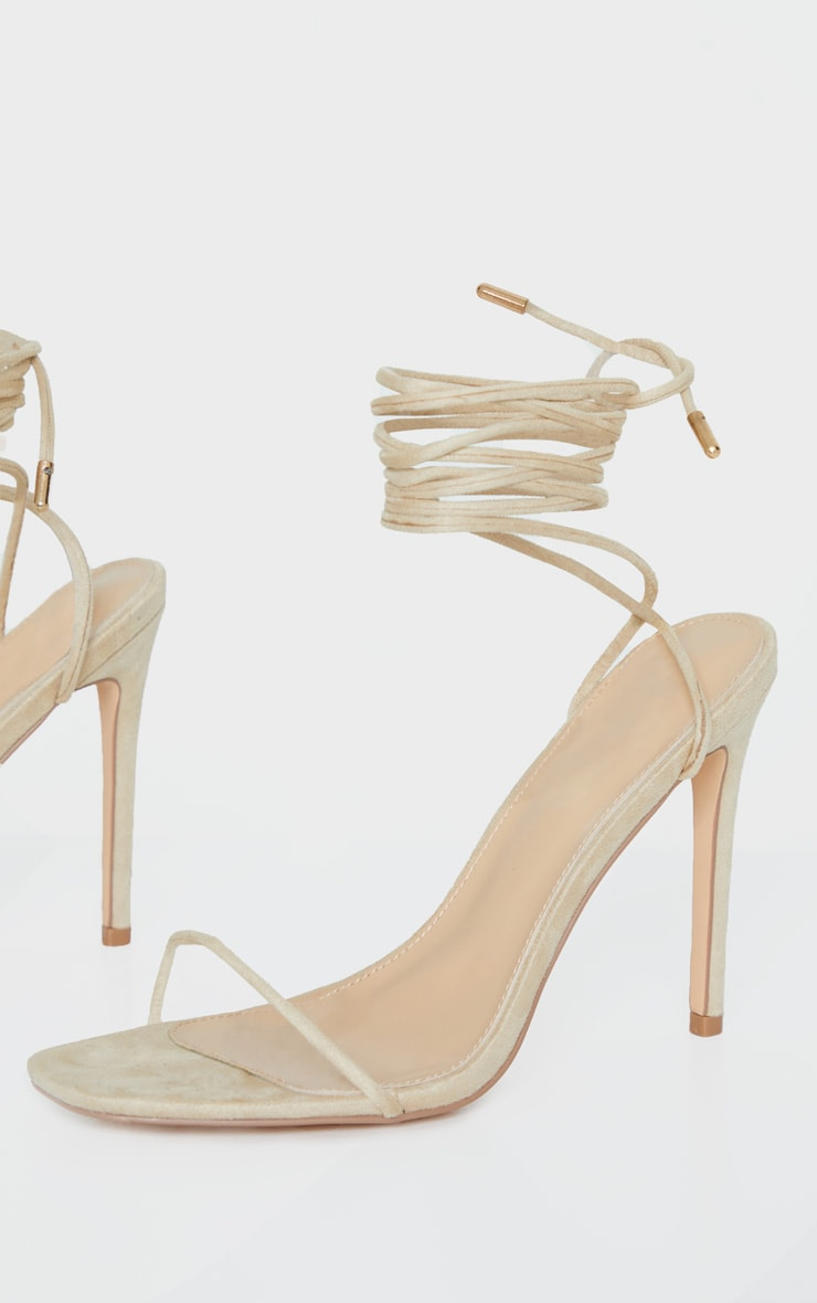 Nude Thin Strap Ankle Tie Strappy Sandal 3