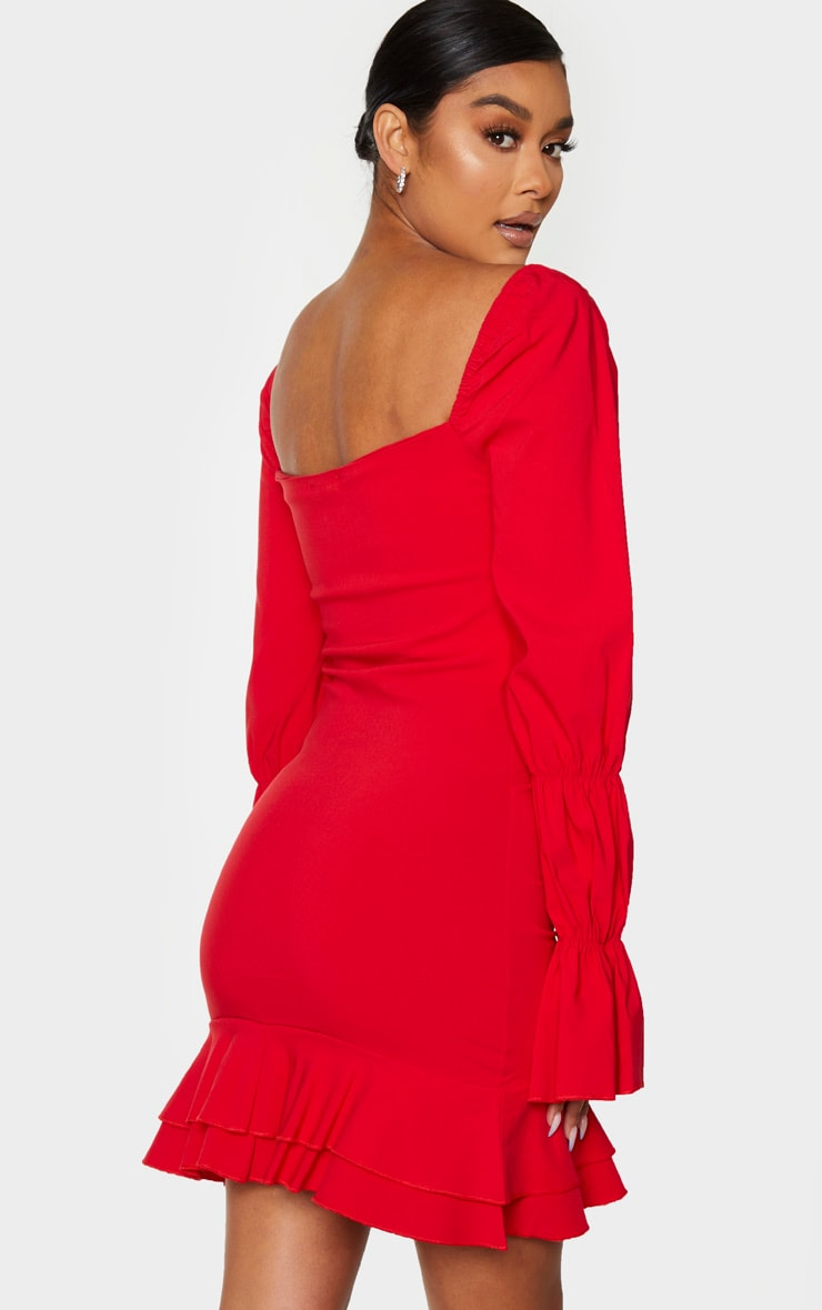 Red Ruched Front Frill Bodycon Dress 2