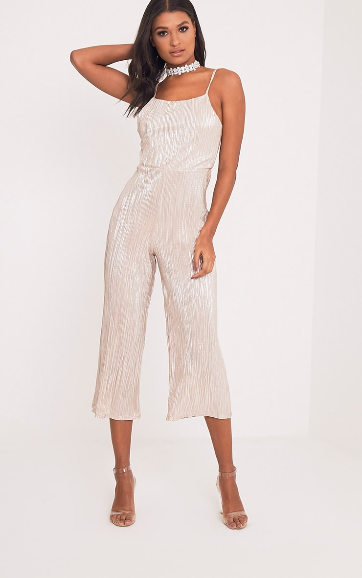 Lissy Gold Pleated Strappy Tie Back Jumpsuit 1