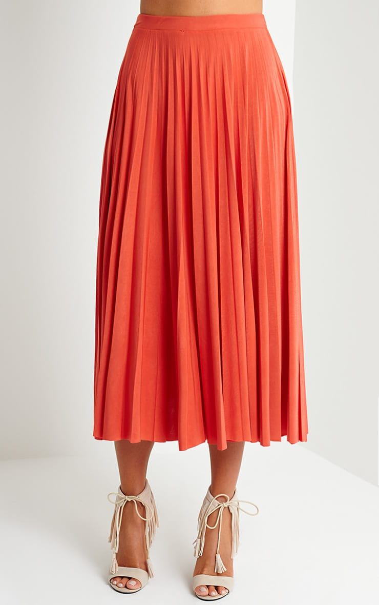 Chelsey Orange Pleated Skirt 2