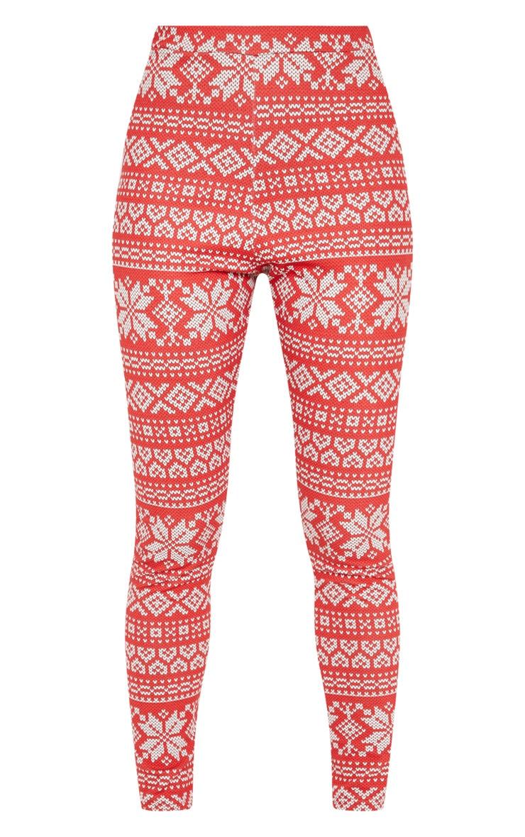 Red Fairisle Printed Legging 3