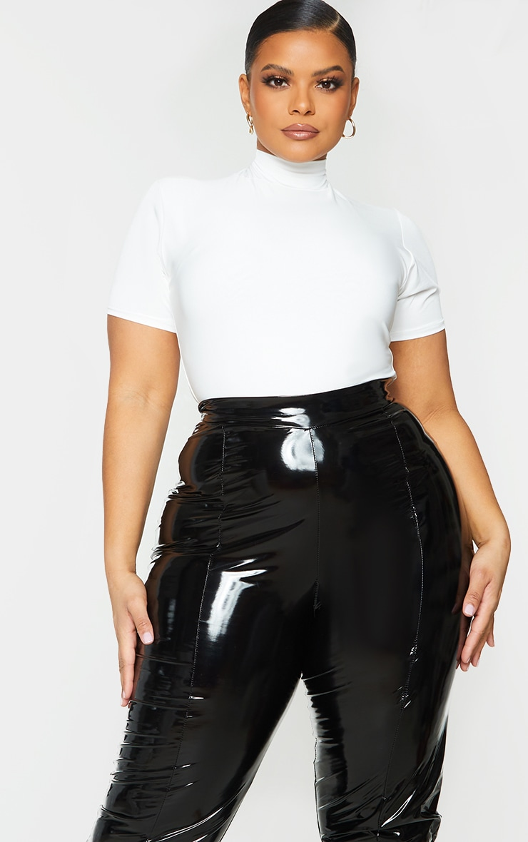 Plus Cream High Neck Short Sleeve Bodysuit 3