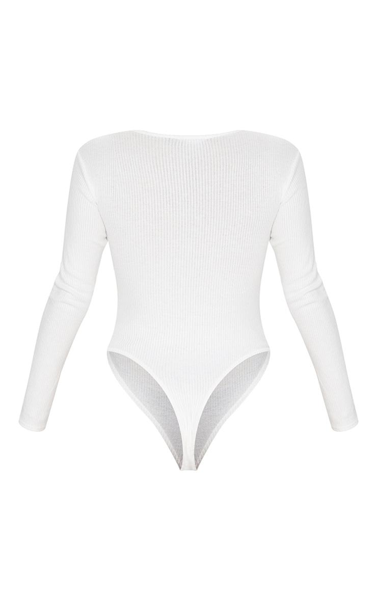 White Brushed Rib Button Long Sleeve Bodysuit 6