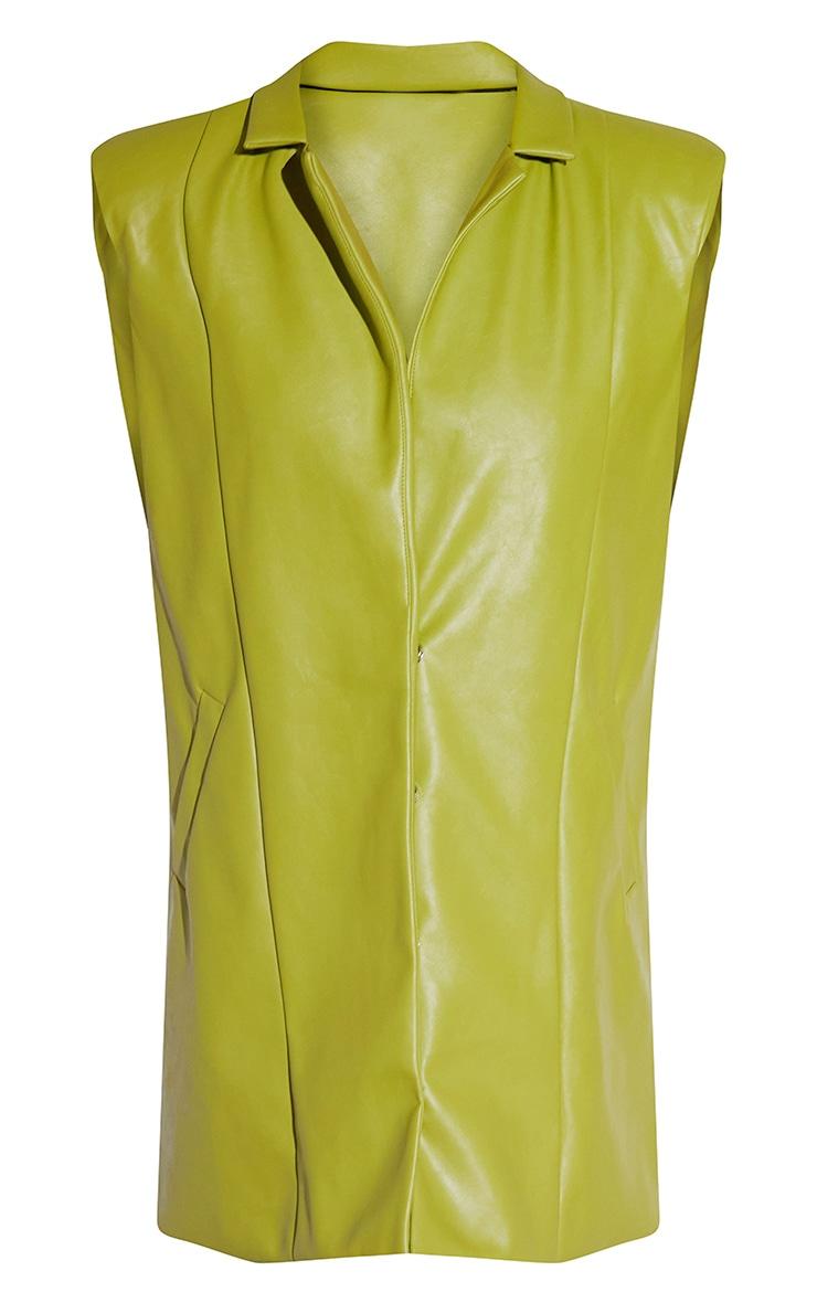 Olive Oversized PU Sleeveless Blazer Dress 5