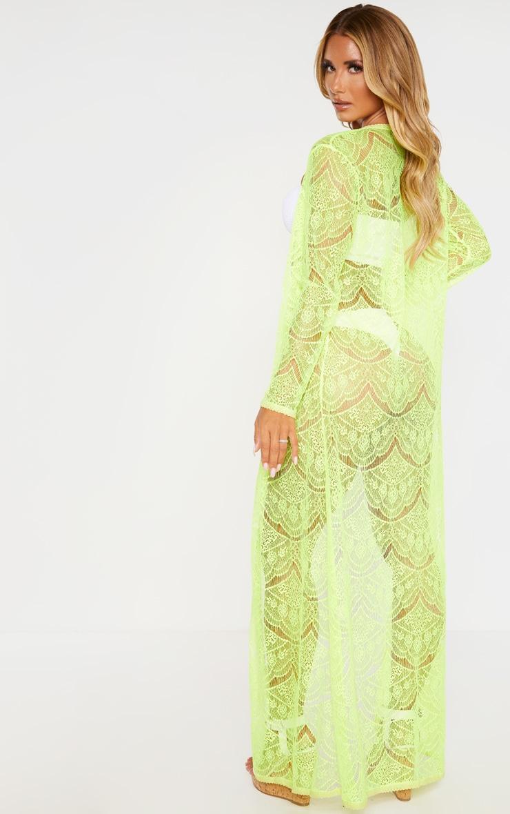 Kimono long en dentelle jaune fluo 2