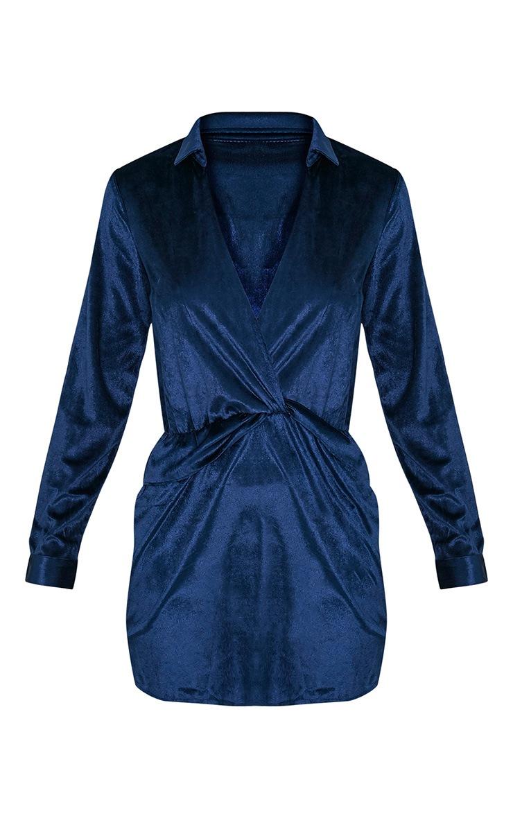 Kaliah Navy Velvet Twist Front Shift Dress 2