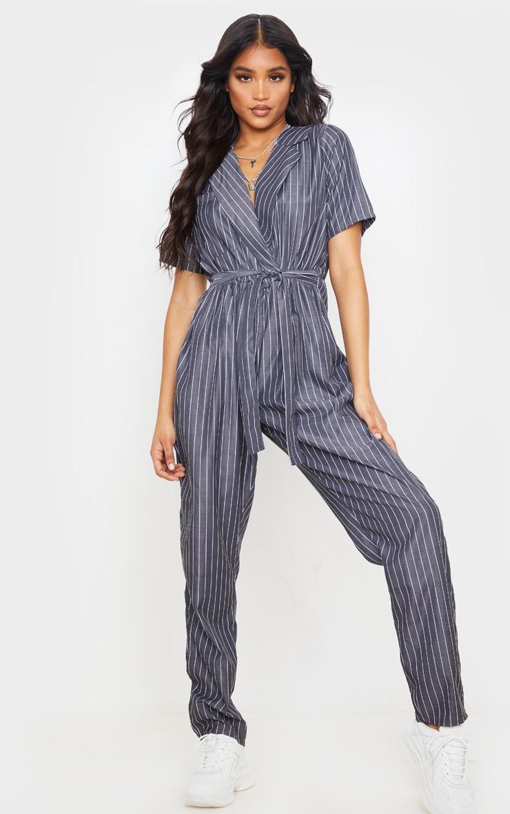 Charcoal Grey Pinstripe Short Sleeve Wrap Jumpsuit 1