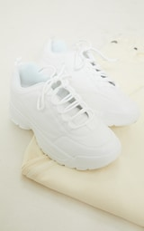 White Chunky Cleated Sole Sneakers 3