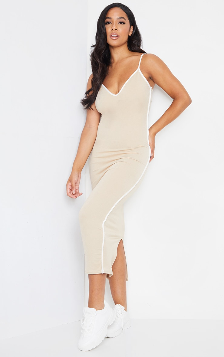 Stone Contrast Trim Detail V Neck Strappy Midaxi Dress 1