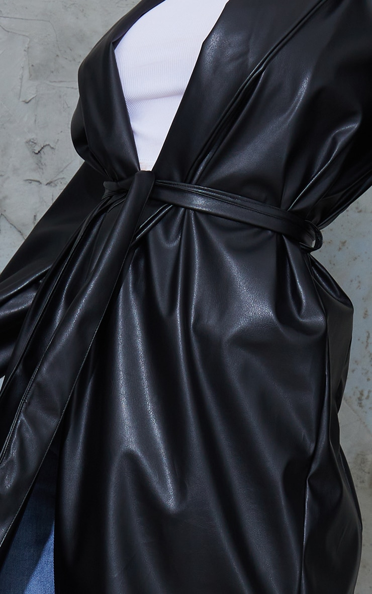 Black PU Belted Midi Trench 4