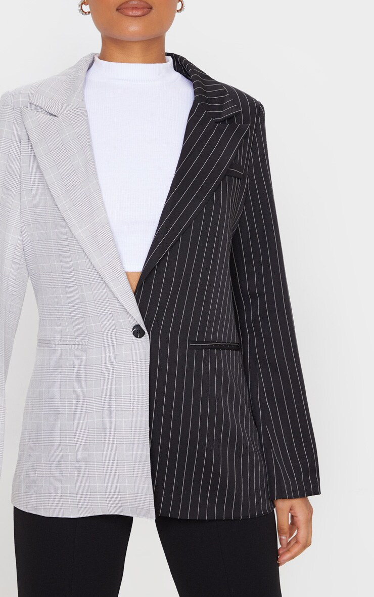 Black Pinstripe Contrast Dad Blazer 5