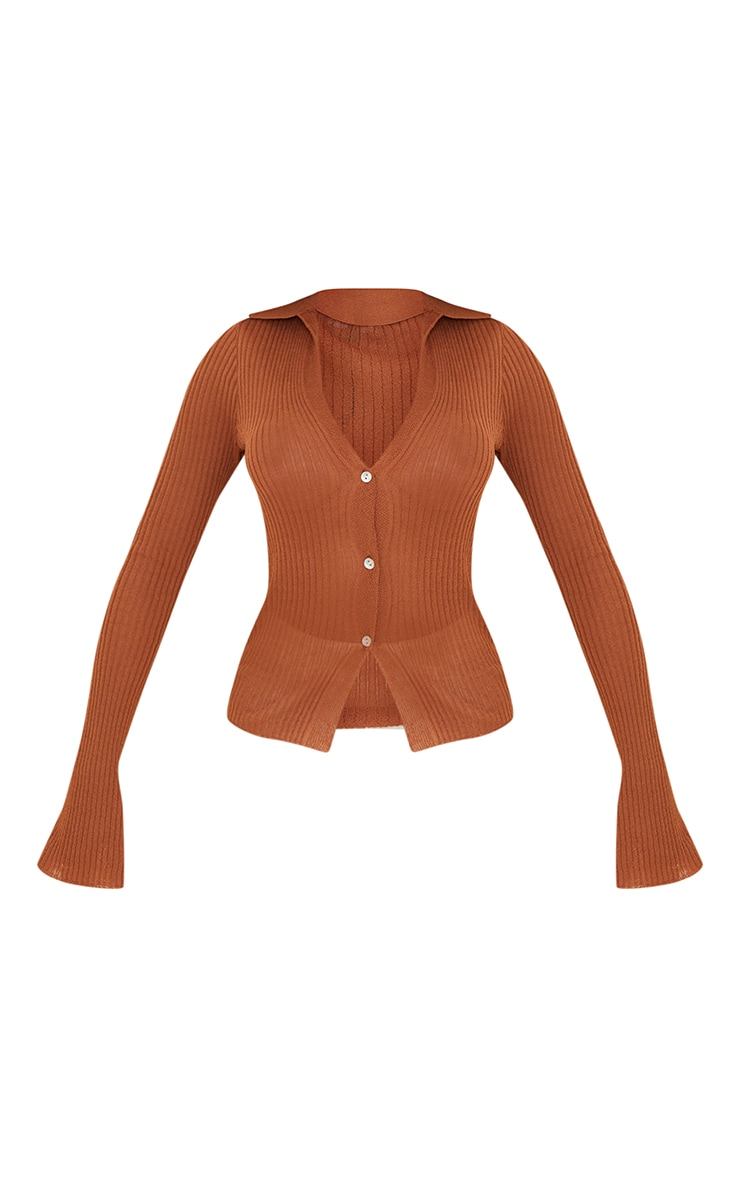 Rust Sheer Knit Button Up Collared Cardigan 5