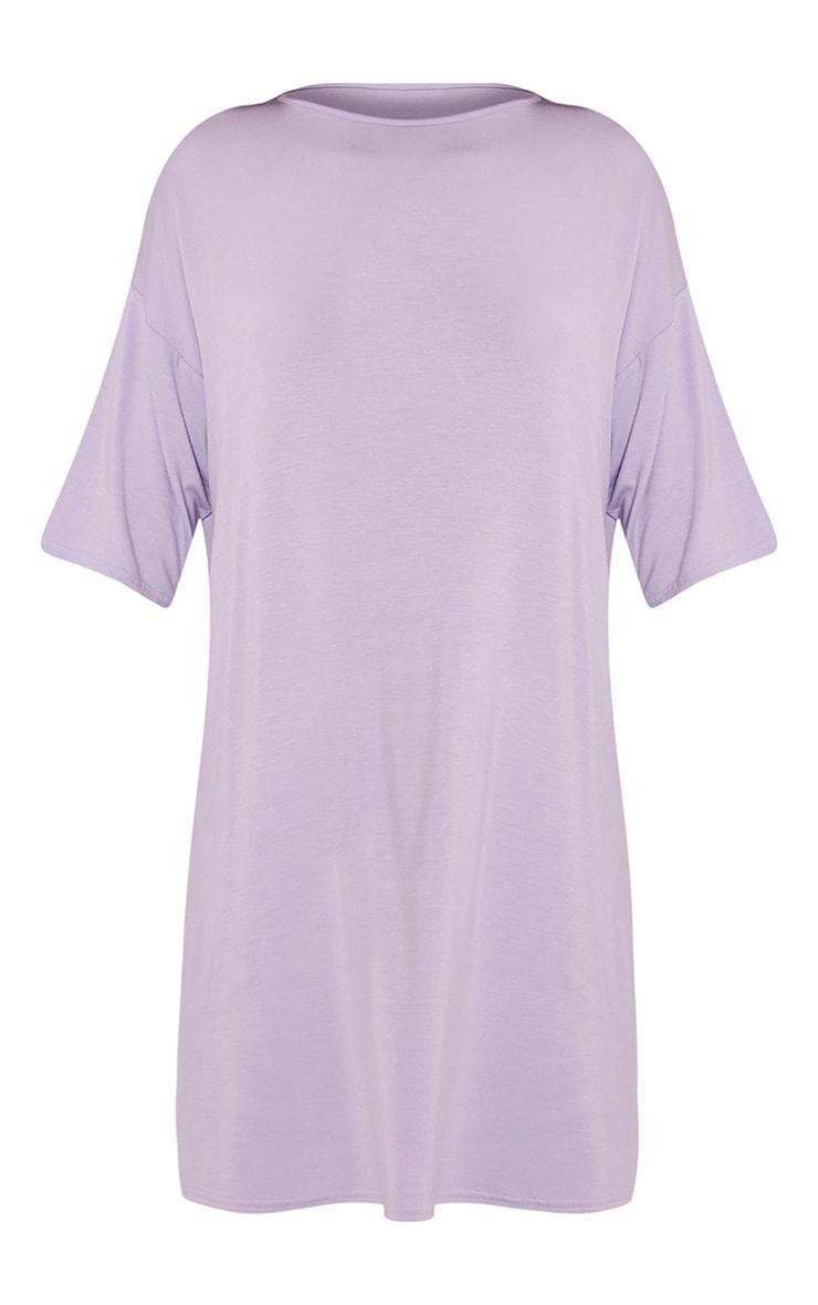 Basic Lilac Drop Shoulder T Shirt Dress 3