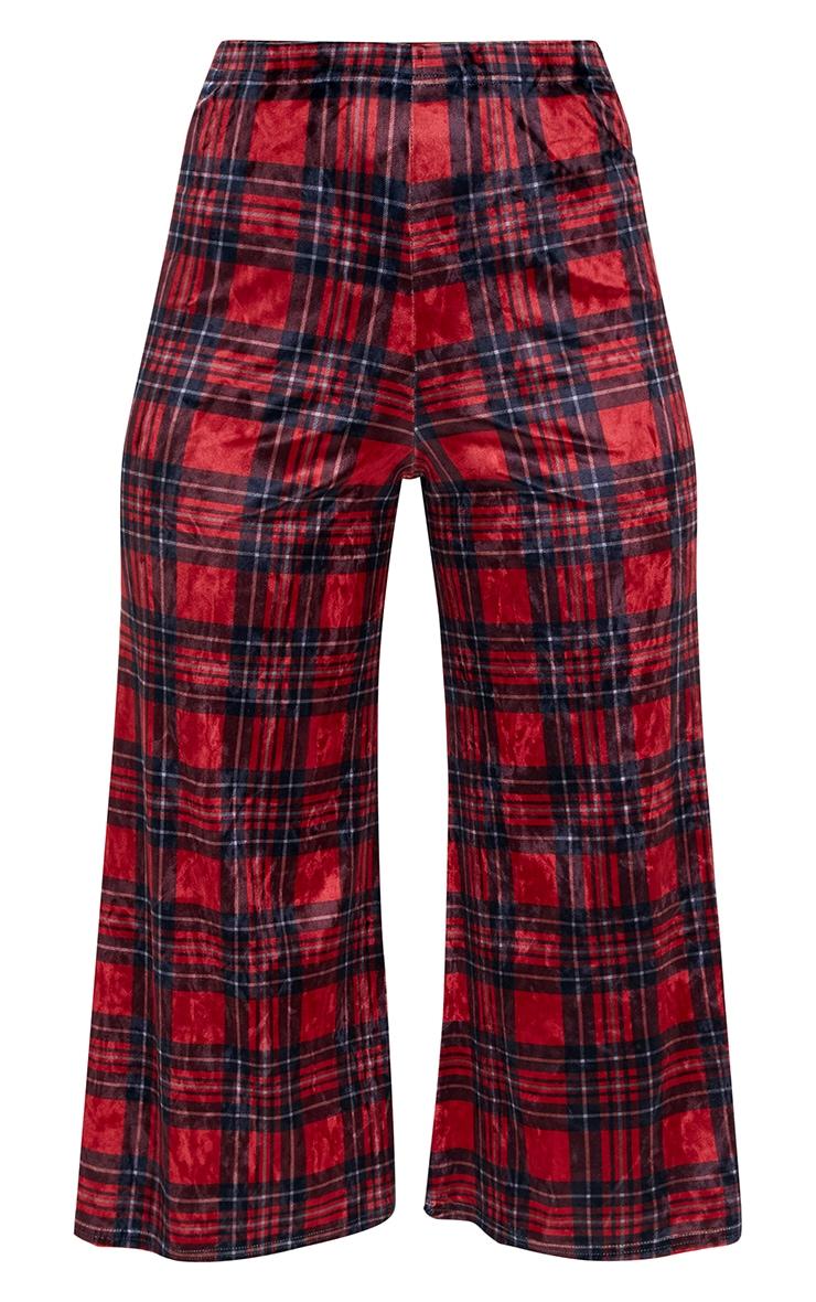 Red Check Print Velvet Culottes 3