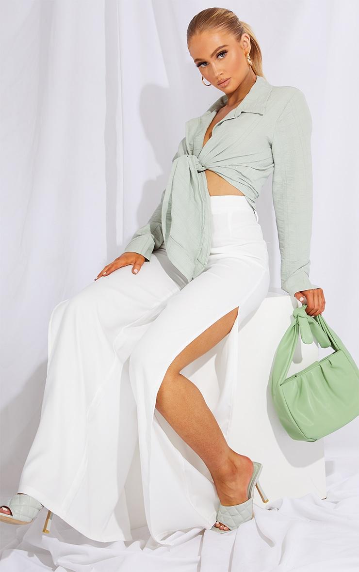 Sage Green Textured Tie Front Shirt 3