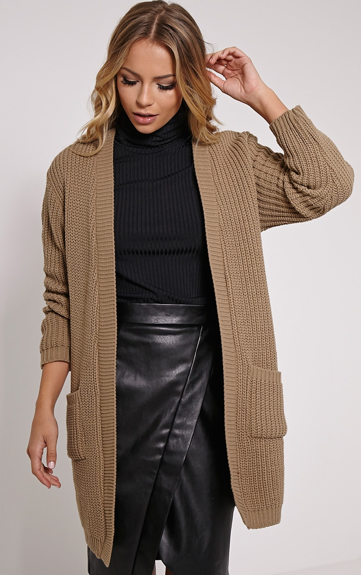 Sophia Taupe Oversized Longline Cardigan 1