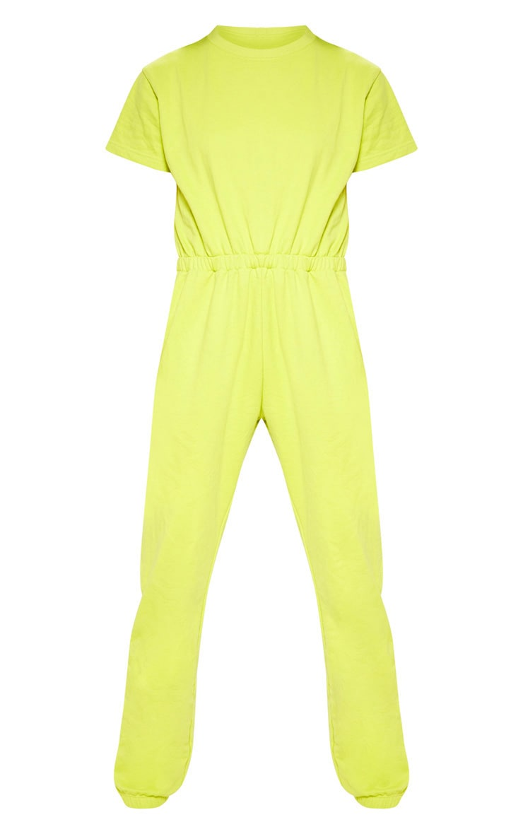 Lime Short Sleeve Crew Neck Sweat Jumpsuit 3