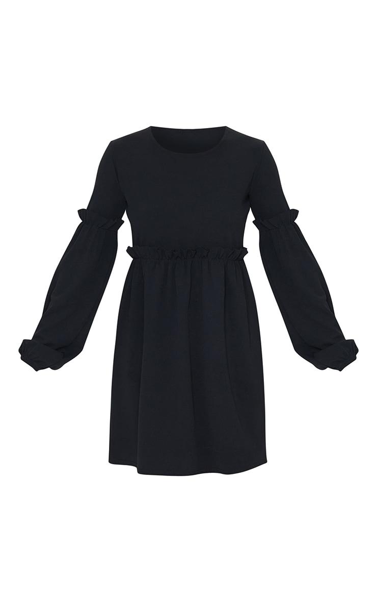 Black Frill Detail Long Sleeve Smock Dress 5