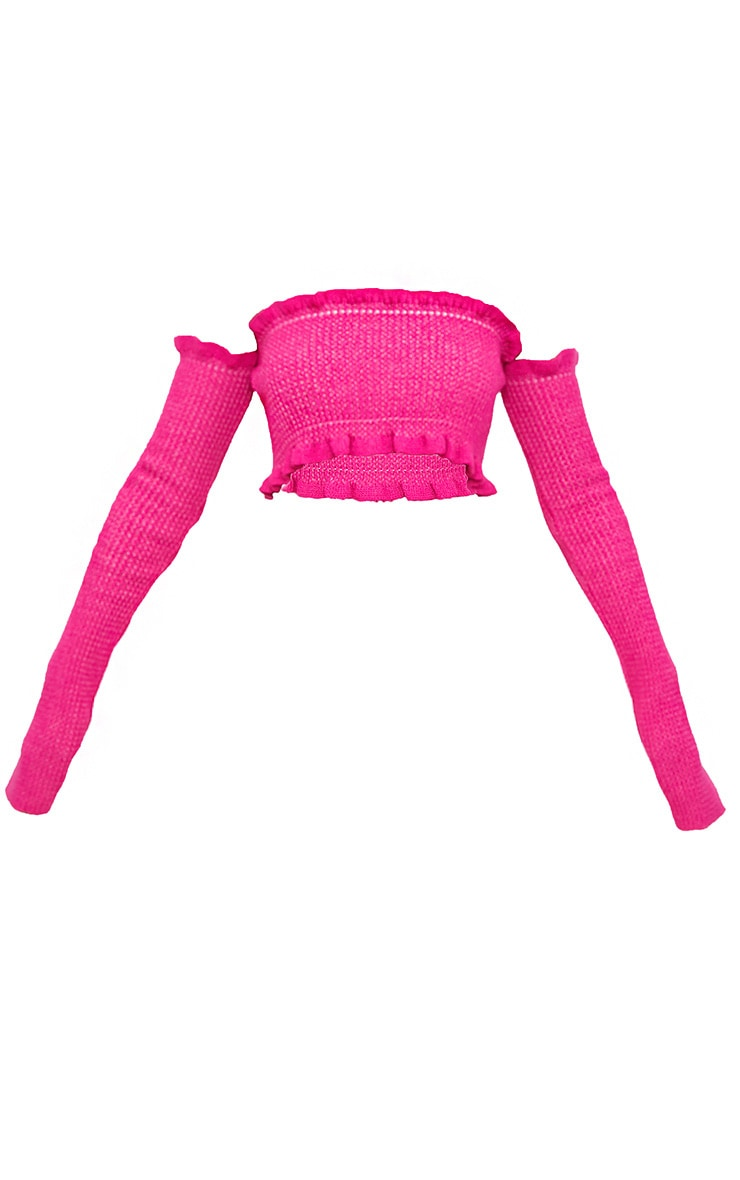 Hot Pink Ruffle Detail Knit Bardot Long Sleeve Top 3