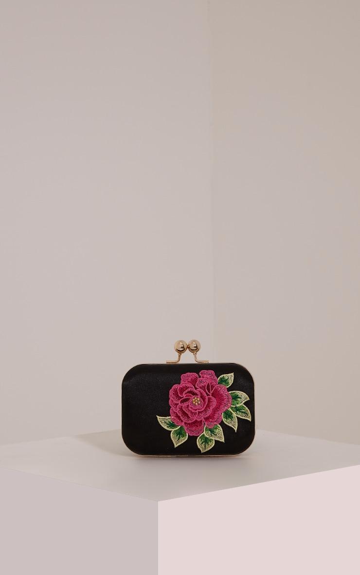 Angela Black Rose Embroidered Clutch Bag 1