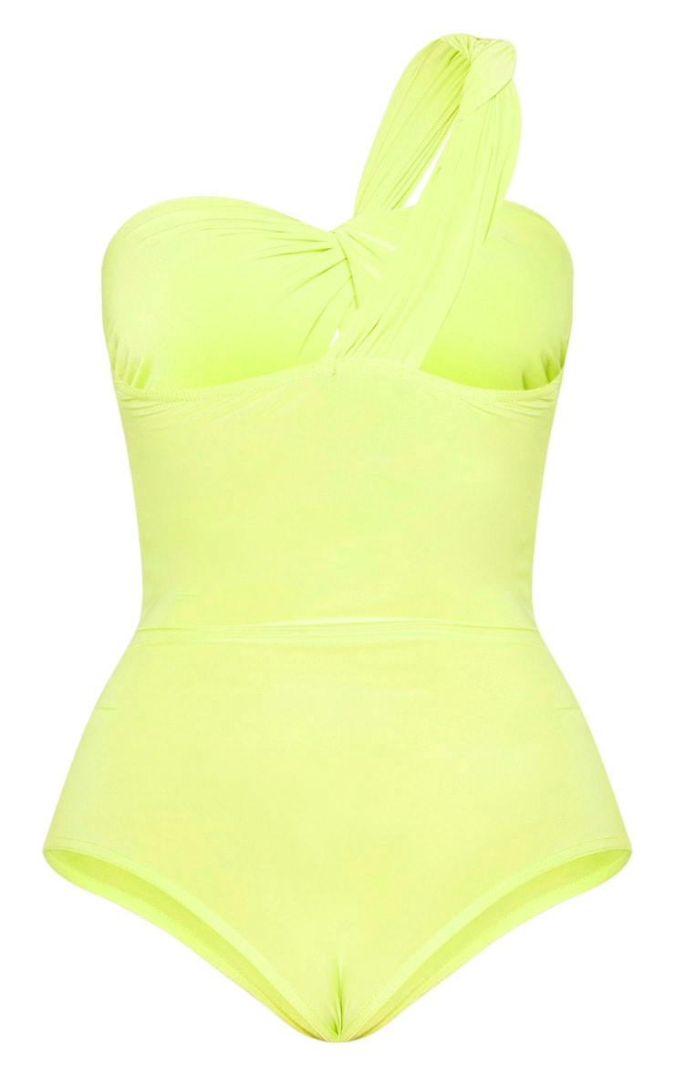 Neon Lime Slinky One Shoulder Bodysuit  6