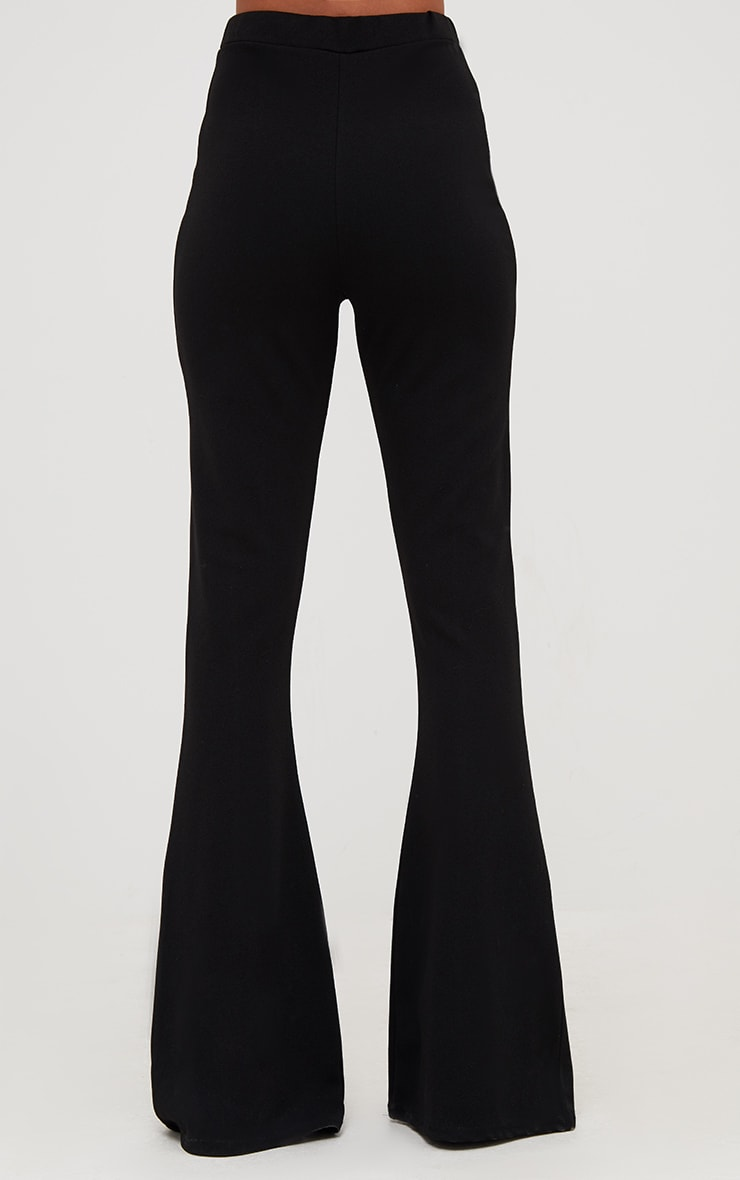 Black Fishnet Insert Flared Trousers 4