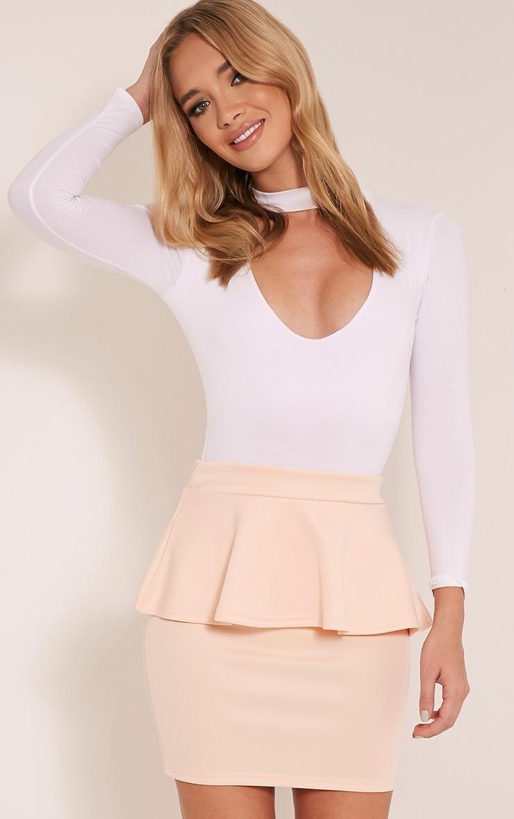 Mariela Nude Peplum Scuba Mini Skirt 1