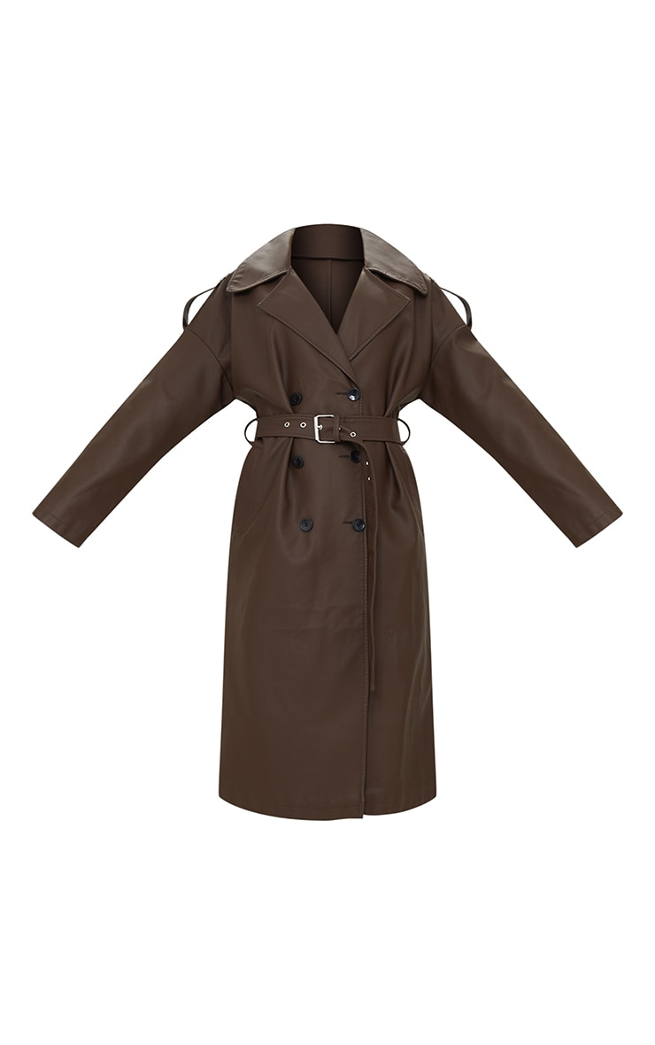 Chocolat Faux Leather Drop Arm Midi Trench 5