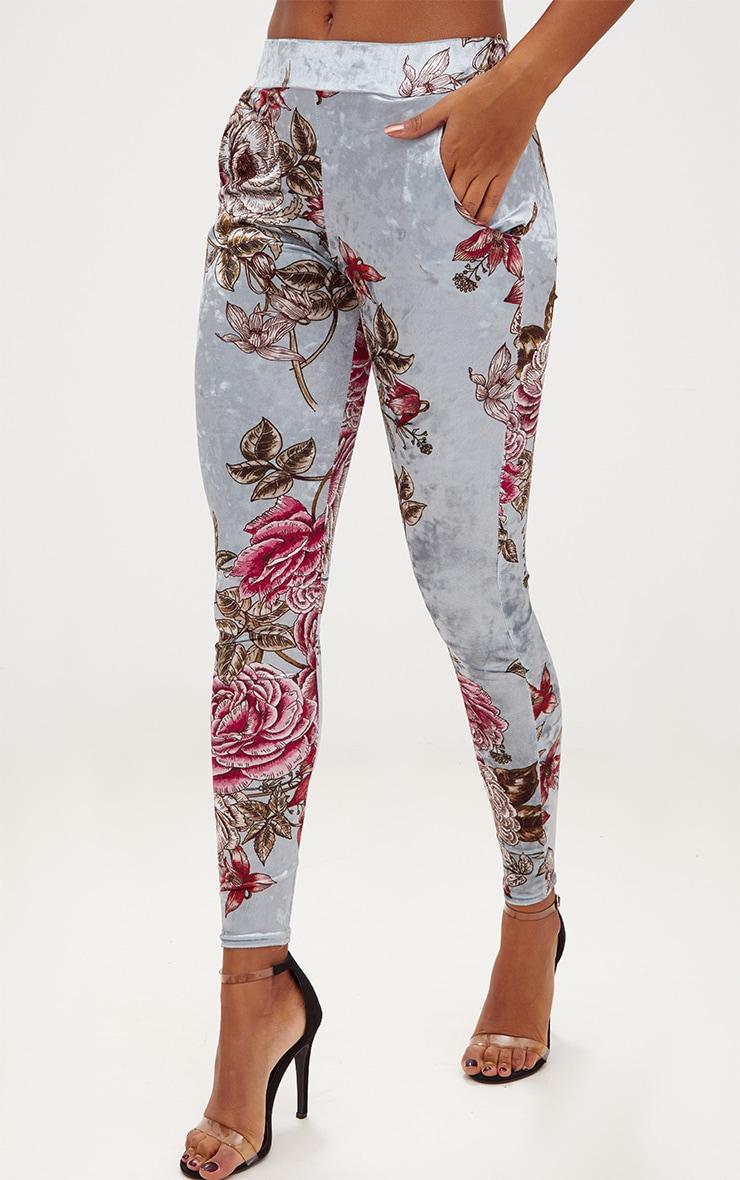 Grey Floral Velvet Skinny Trousers 2