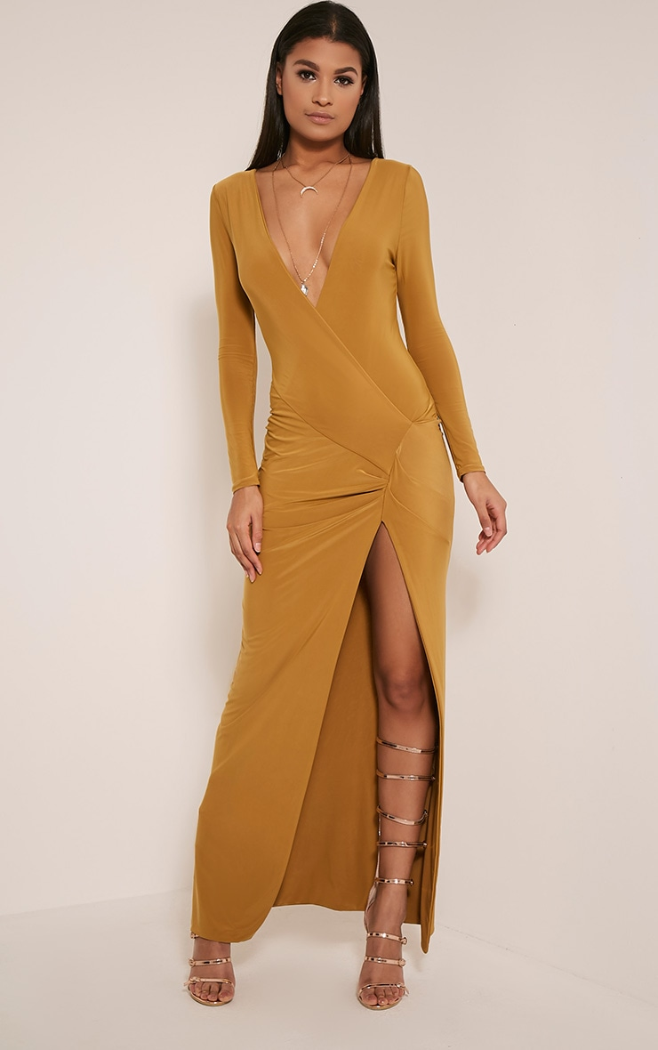 Aubreanna Dark Gold Wrap Front Ruched Maxi Dress 2