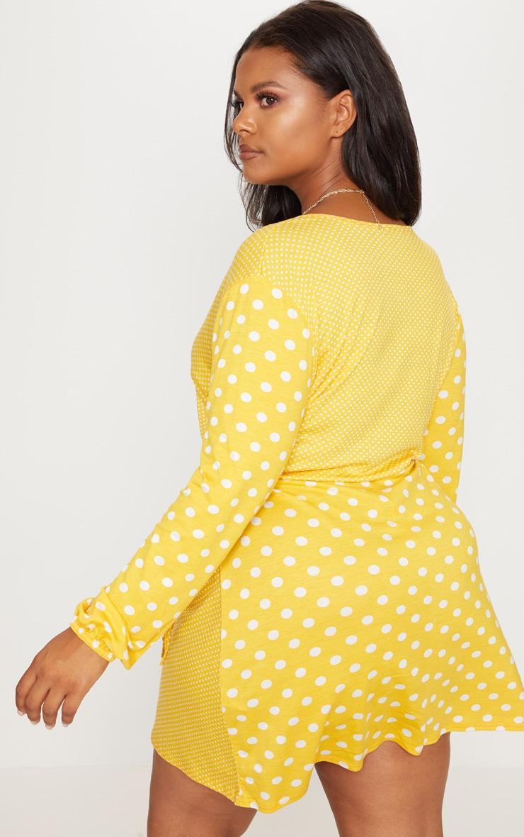 Plus Yellow Contrast Polka Dot Wrap Dress 2