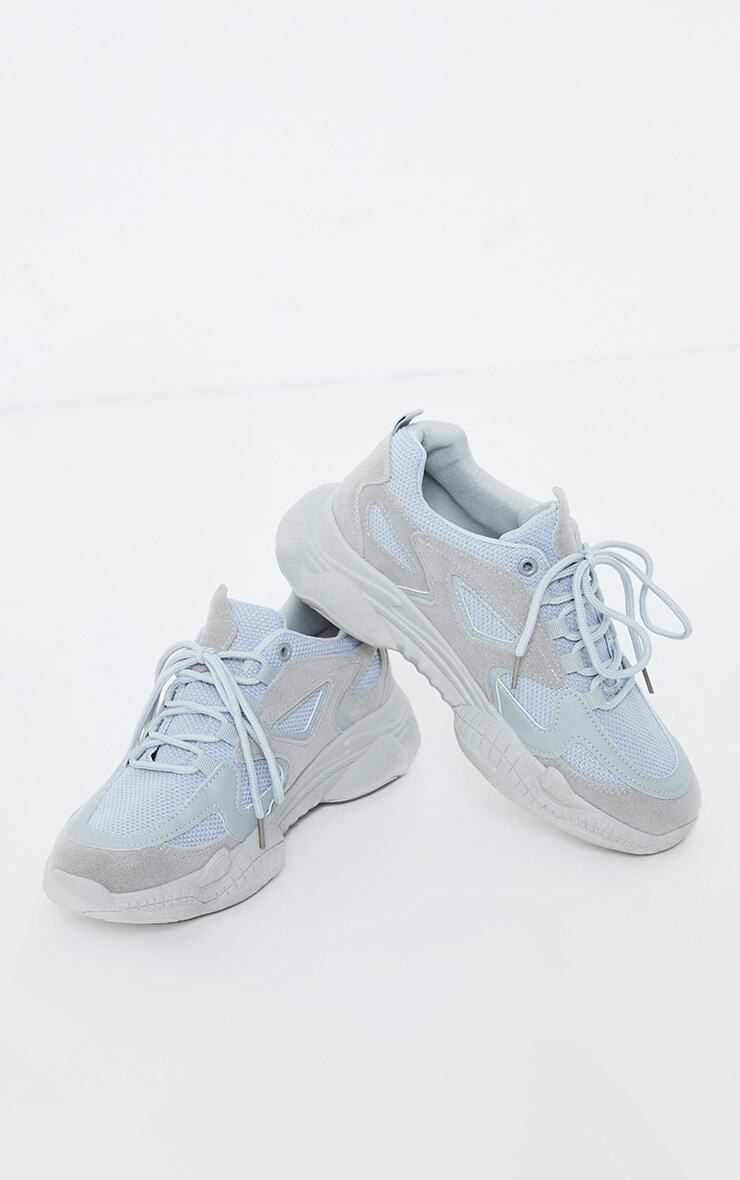 Grey Wide Fit Chunky Bubble Sole Panelled Up Sneakers 3