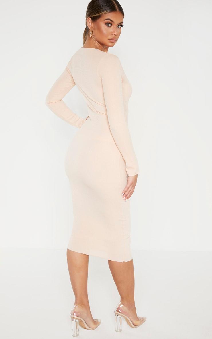 Nude Raw Edge Long Sleeve Rib Midi Dress 2