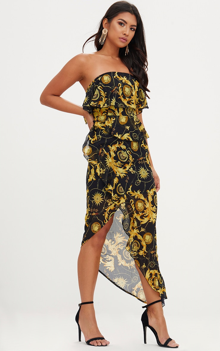 Black Chain Print Bandeau Midi Dress 1