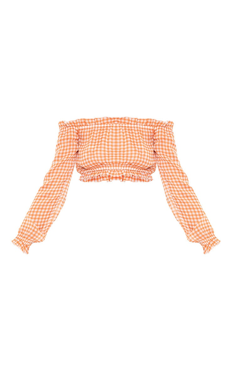 Bryani Orange Gingham Print Chiffon Bardot 3