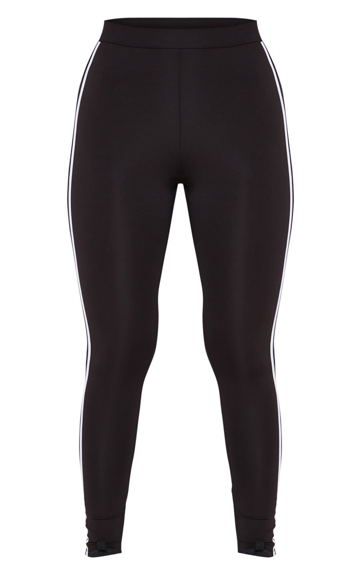 Black High Waist Contrast Stripe Gym Legging 4