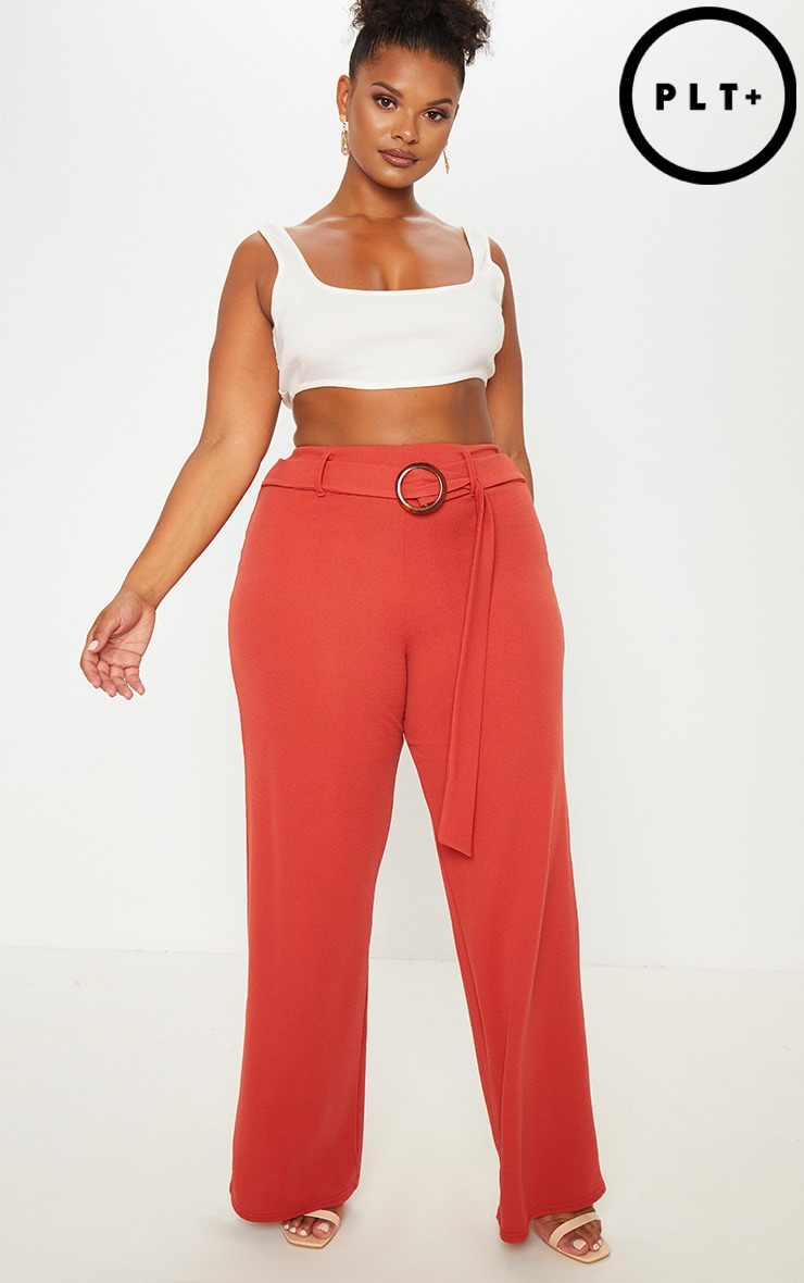 Plus Rust Tortoise Shell Ring Detail Wide Leg Trouser